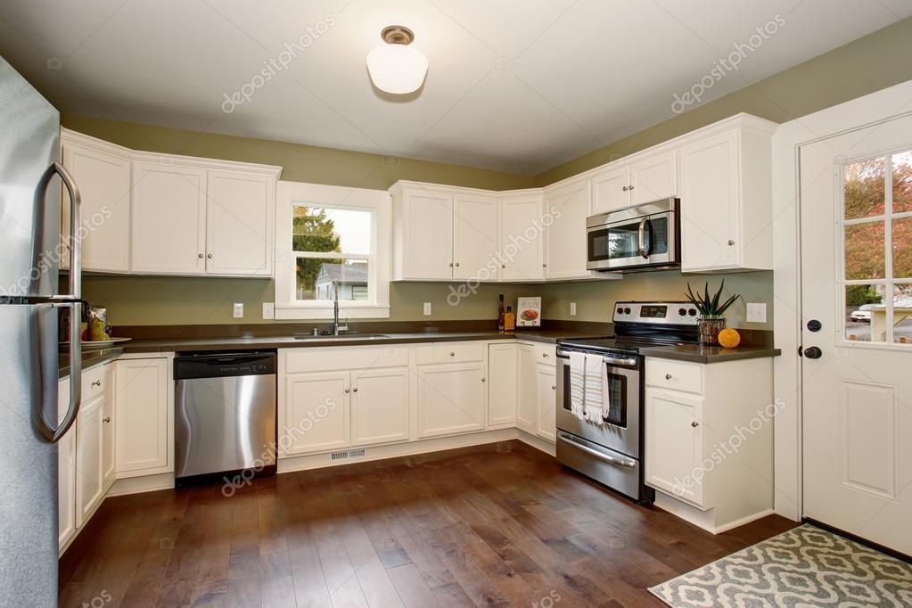klassieke keuken met groen interieur verf en wit kasten stockfoto