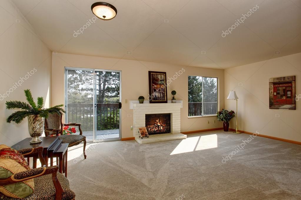Schönes Wohnzimmer Mit Kamin Und Glas Schiebetür U2014 Stockfoto