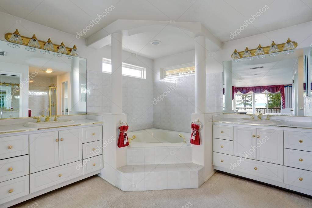 Luxury Bathroom With Large Jacuzzi Style Tub Stock Photo