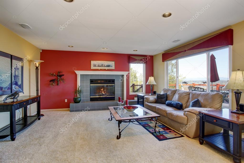 Lovely Living Room With Red And Golden Walls Stock Photo 80167170