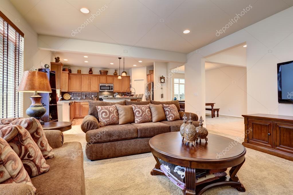 Typische woonkamer in amerikaans huis met tapijt en zwarte