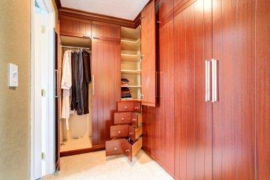 Luxury closet in master bedroom.