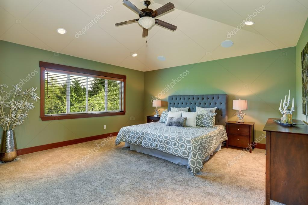 Grote slaapkamer met groen interieur — Stockfoto © iriana88w #80246102