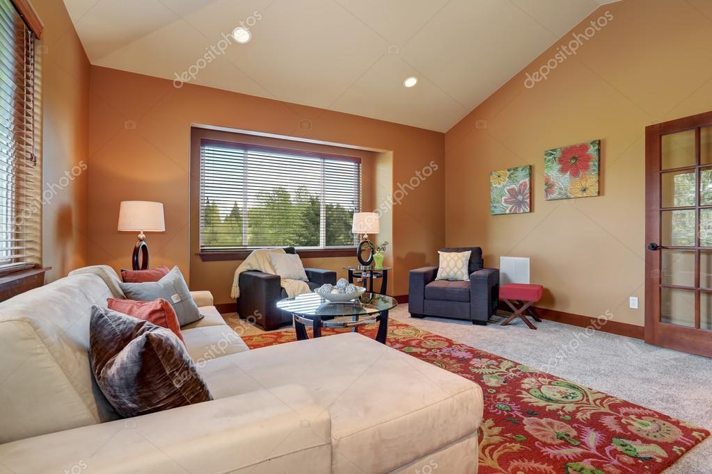 Colorful living room with red and blue decor stock for Red and blue living room ideas