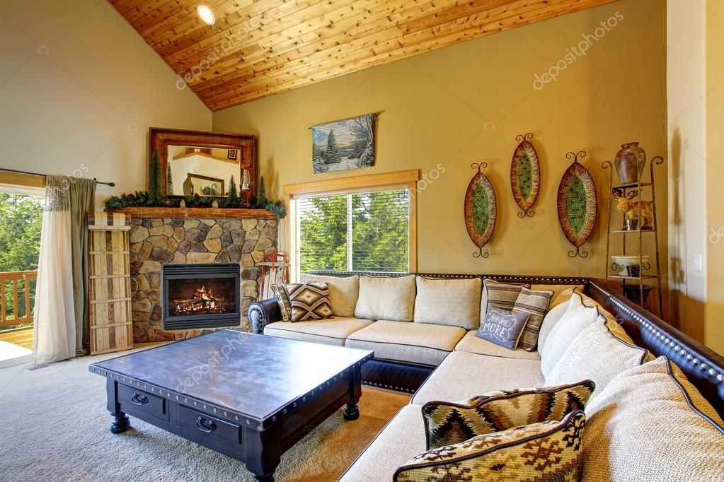 mountain style decor in modern day living room stock photo