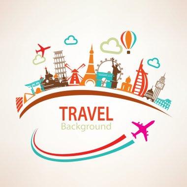 world travel, landmarks silhouettes icons set