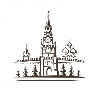 Red square and Moscow Kremlin stylized vector sketch