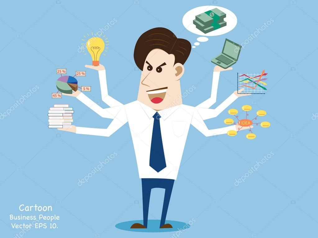 concept with business cartoon people work hard for success vector