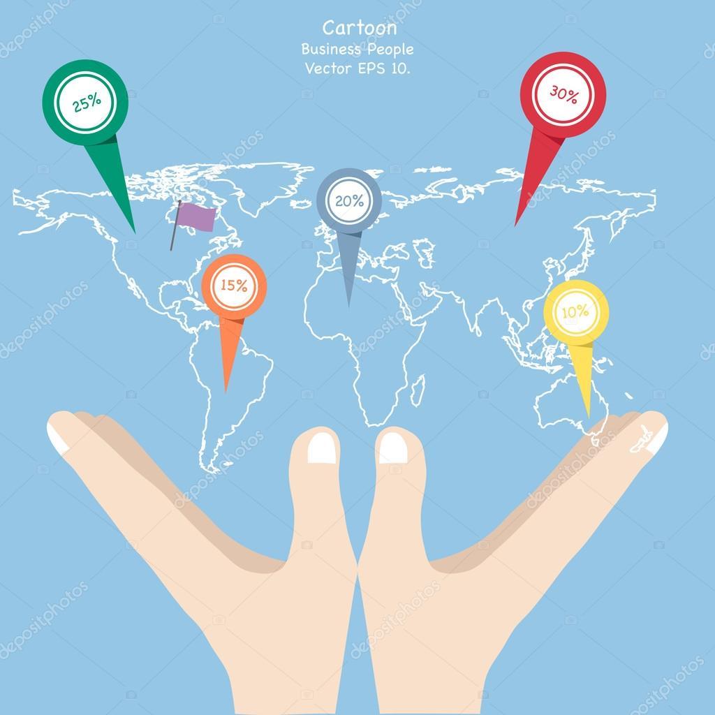 Concept of business cartoon hand holding world map globe vector concept of business cartoon hand holding world map globe vector illustration eps 10 vector de ohmega1982 gumiabroncs Gallery