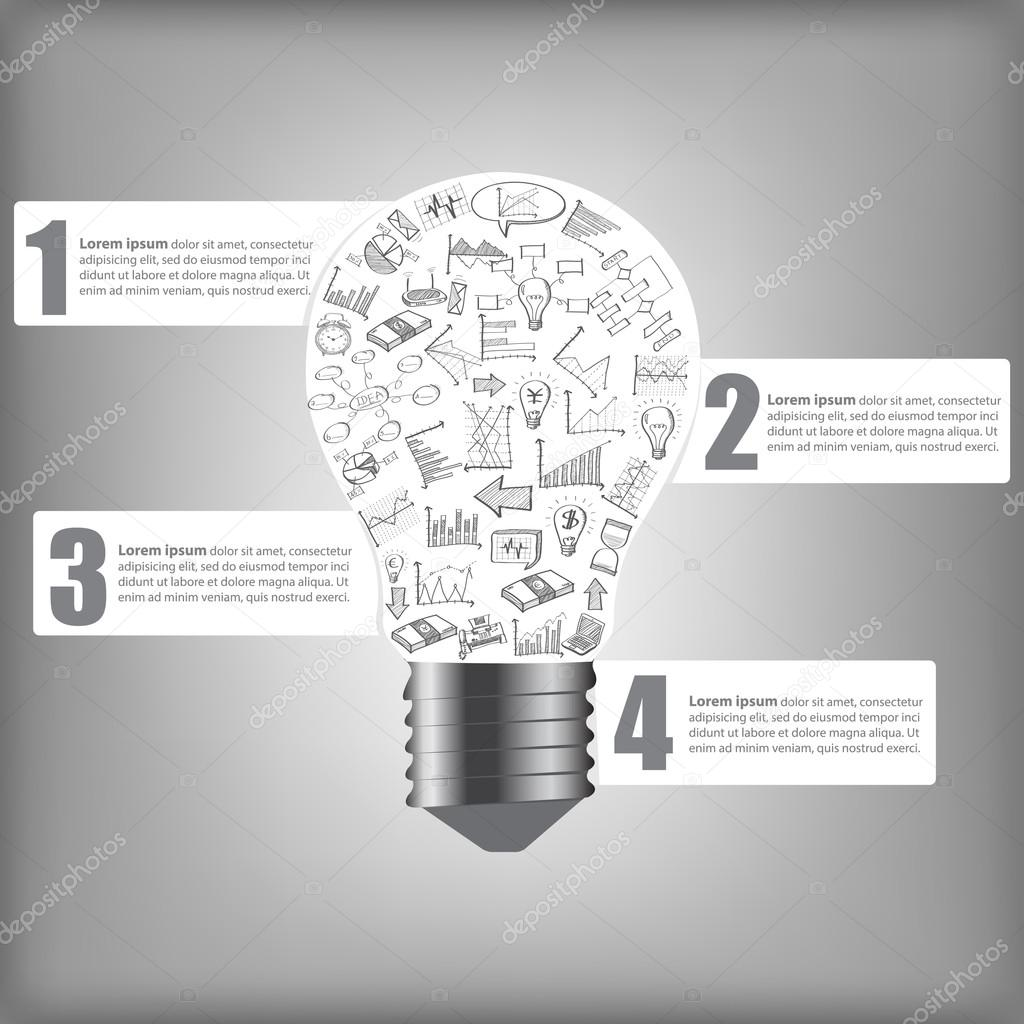 Creative Light Bulb Infographic With Business Finance Chart And Diagram Of Incandescent Graph Idea Concept Vector Illustration Eps