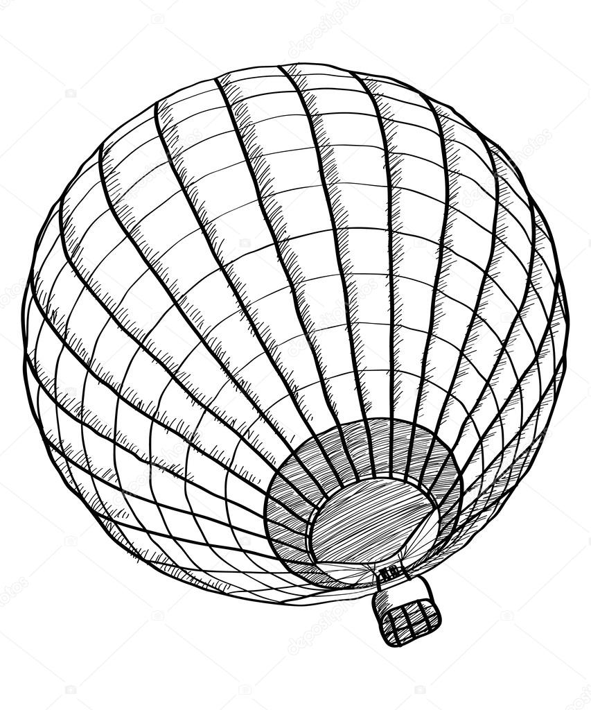 Doodle of Hot Air Balloon Vector Sketch Up line, EPS 10. — Stock ...