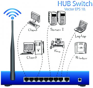 HUB Switch Vector Illustration, EPS 10.