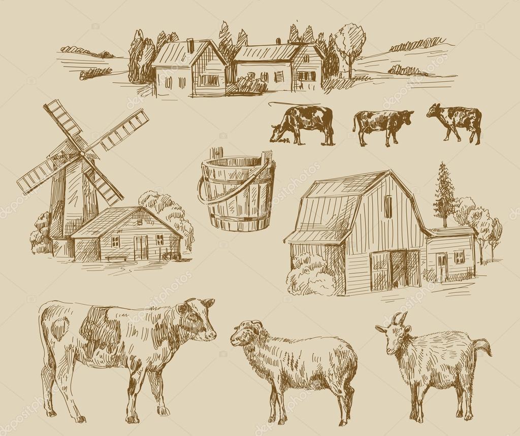 farm hand drawn