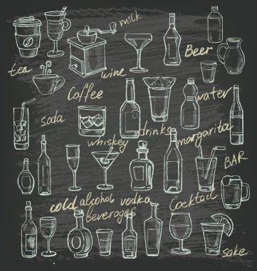 vector hand beverages