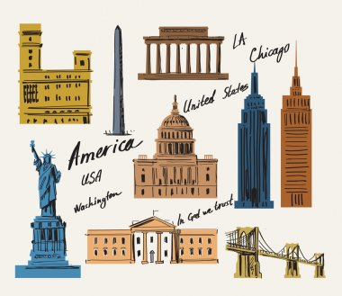 Vector USA and landmark architecture vector set