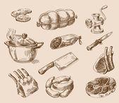 ruky nakreslené potravin skica