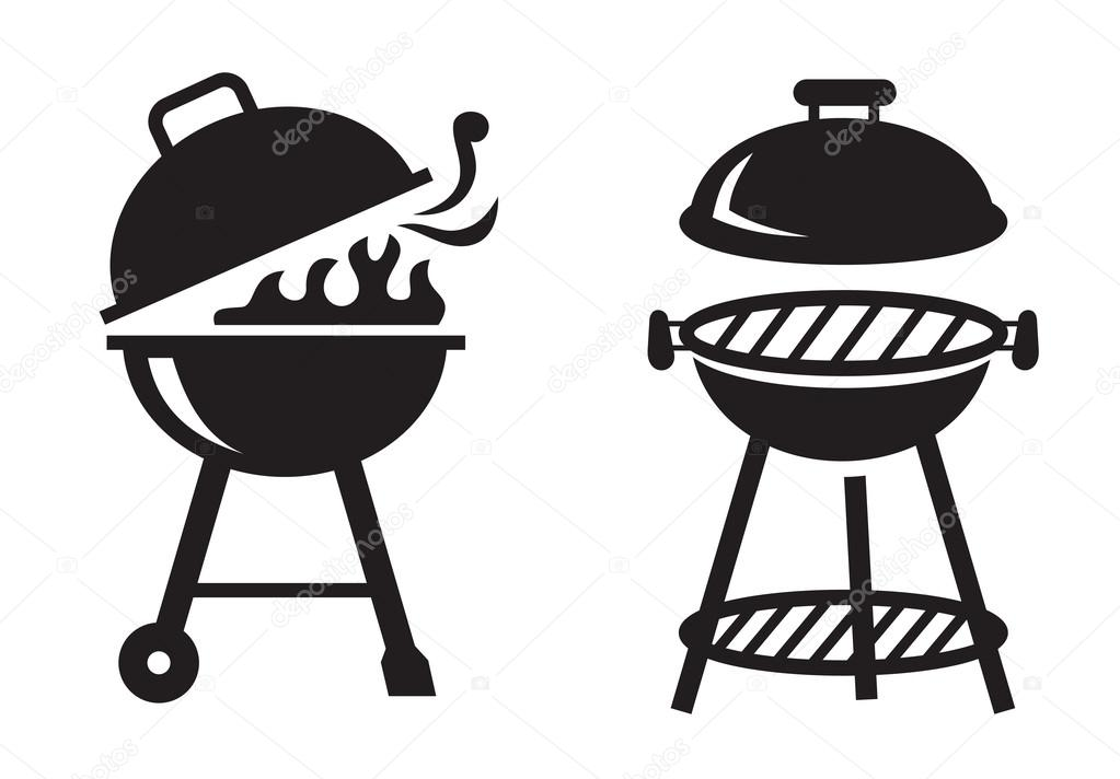 black bbq grill icons stock vector bioraven 99909702. Black Bedroom Furniture Sets. Home Design Ideas