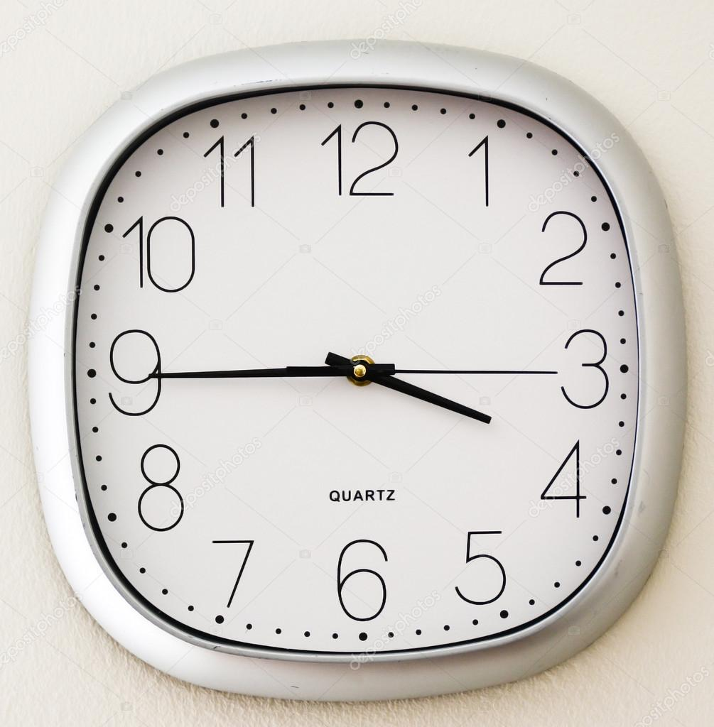 wall clock for office. Wall Clock In An Office, Time Is Quarter To Four \u2014 Stock Photo For Office