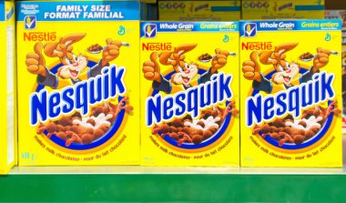 Nestle Nesquik Cereal in a Store Shelf