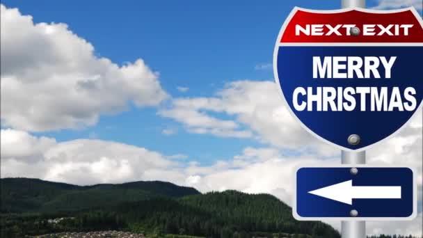 Vidám karácsony közúti jel-val folyó felhők