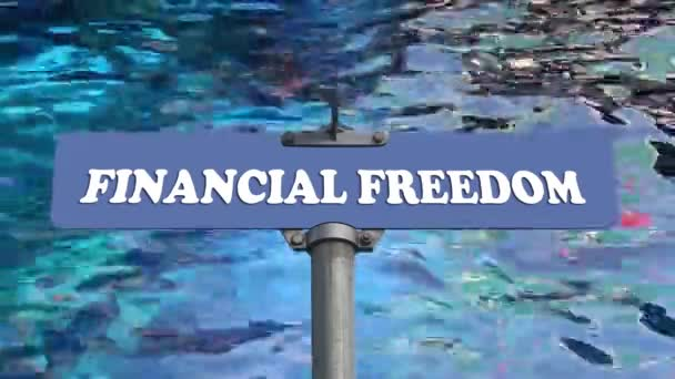 Financial freedom road sign with blue water wave background