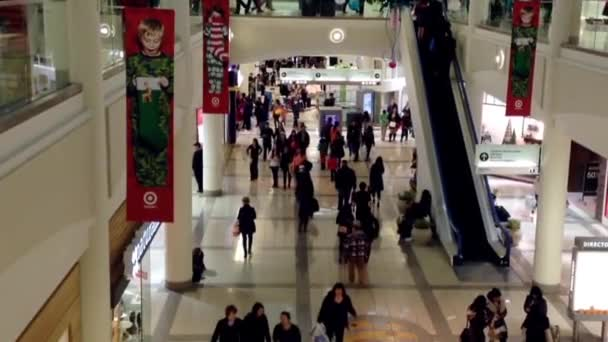 One side of shopping mall during Christmas shopping season