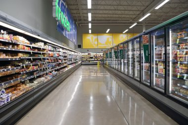 Dairy and fozen food corridor in Save on Foods