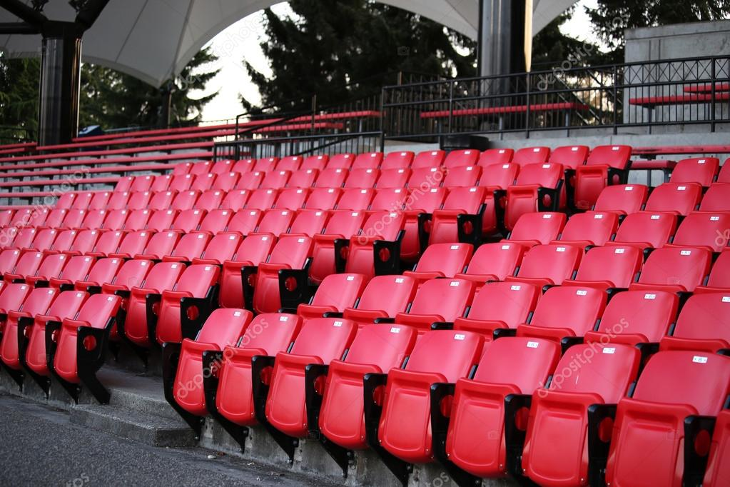 A field of empty stadium seats