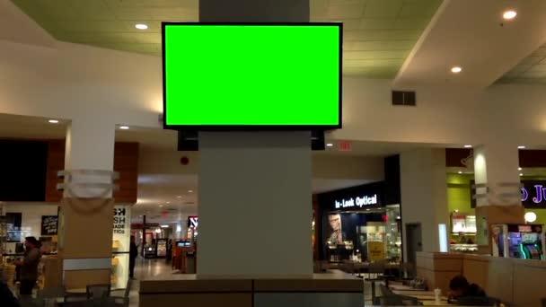 zelený billboard pro vaši reklamu v televizi uvnitř potravin soud v coquitlam nákupního centra