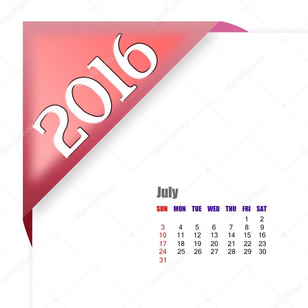 Calendario Julio Del 2000.Calendario De Julio De 2016 Foto De Stock C Payphoto 96512000