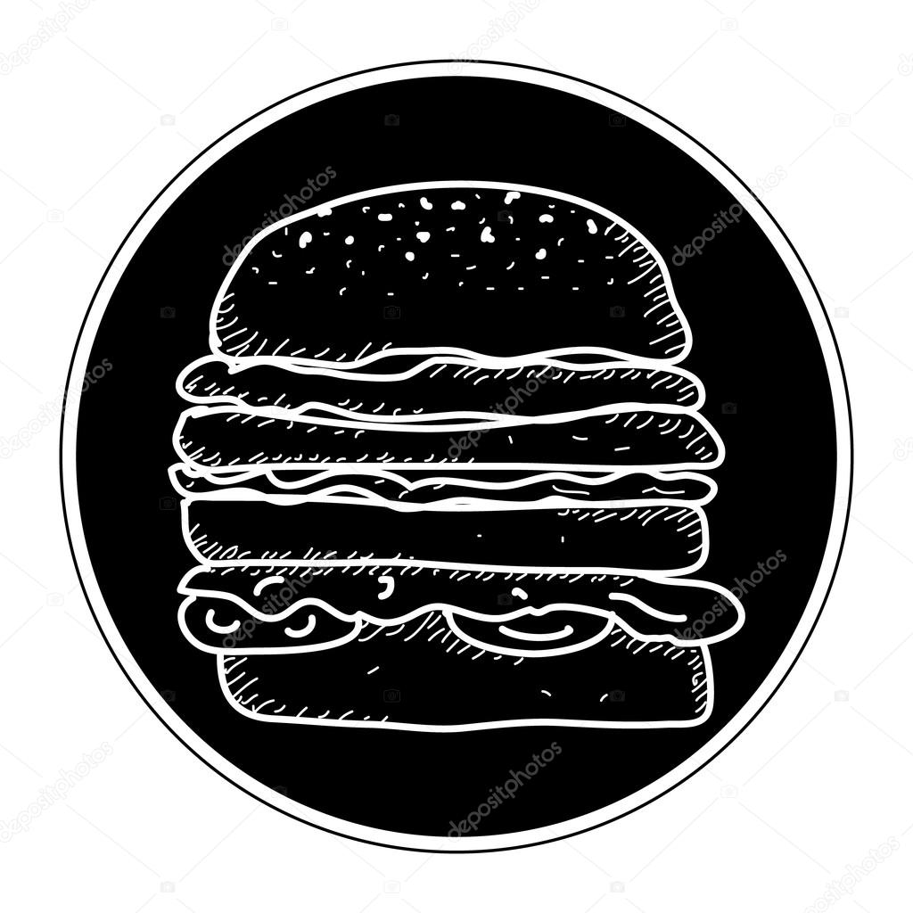 Simple doodle of a burger — Stock Vector © chrishall #100648524
