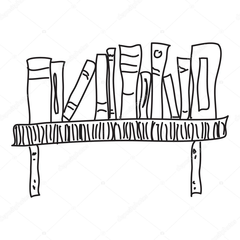 Doodle Sketch Of A Bookshelf On White Background Stock Vector