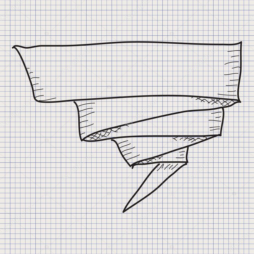 simple doodle sketch of a banner on graph paper background vector by chrishall