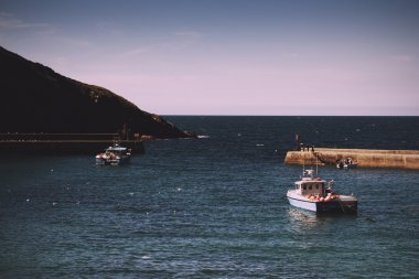 View of the harbour at Port Issac Vintage Retro Filter.