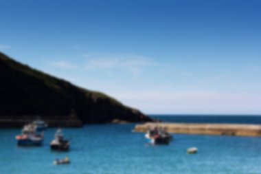 View of the harbour at Port Issac Out of focus.