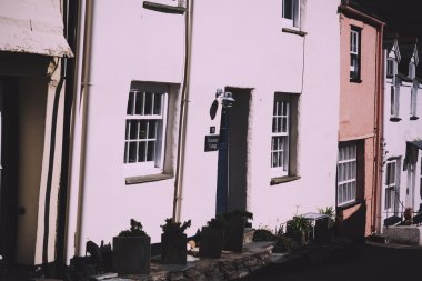 View down the old streets on Port Issac Vintage Retro Filter.