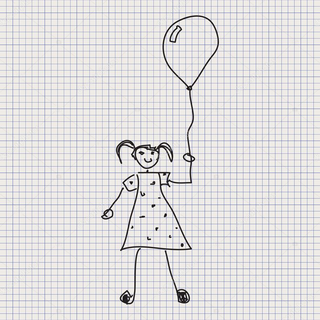simple doodle sketch of a girl holding balloon on graph paper background vector by chrishall