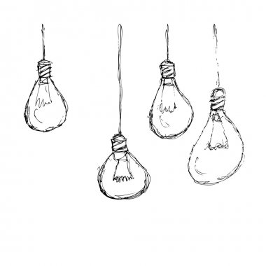 Hand drawn pen and ink style illustration of lightbulbs