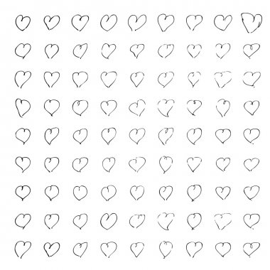 Hand drawn pen and ink illustration of hearts on a white background stock vector