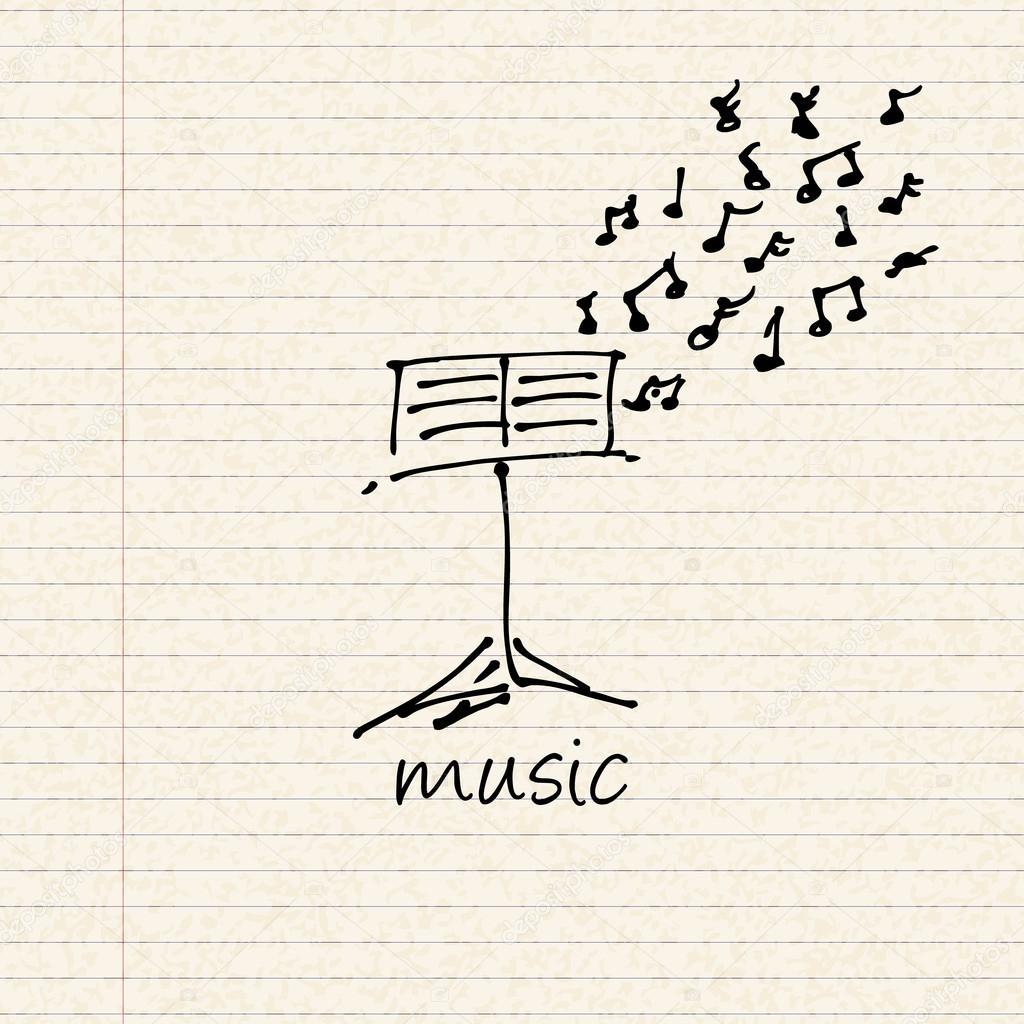 Ilustración de un diseño de música en una hoja de papel rayado ...
