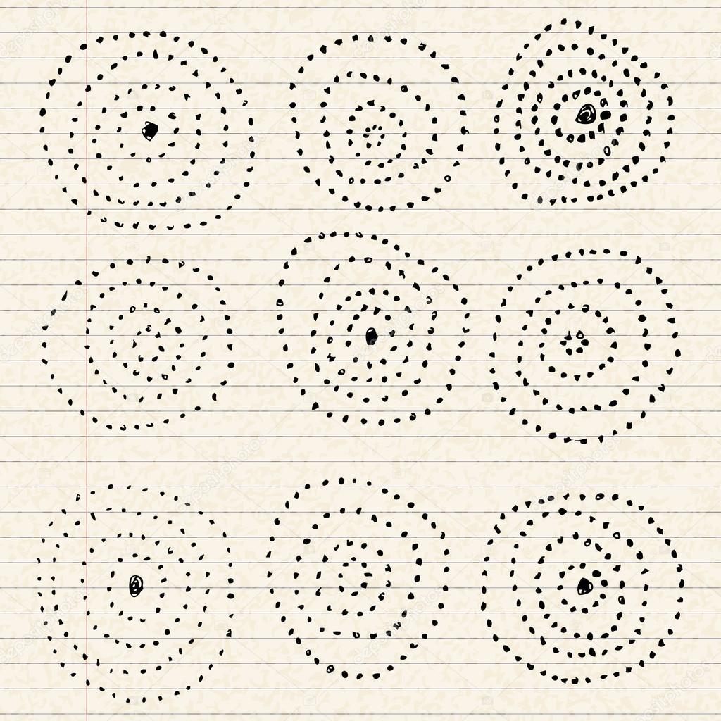 Kreis-Muster auf einem Blatt Liniertes Papier — Stockvektor ...