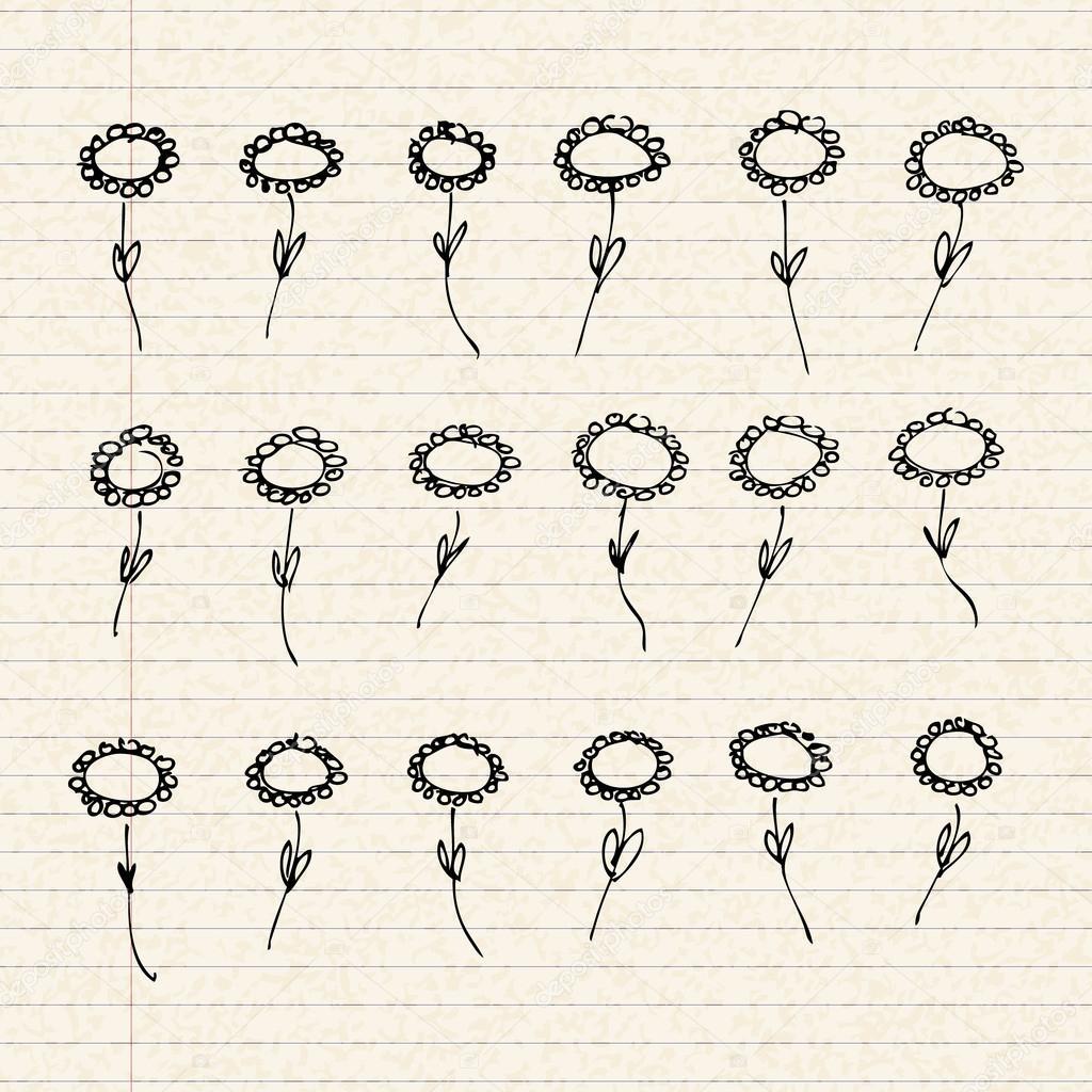 Ilustración de flores en una hoja de papel rayado — Archivo Imágenes ...