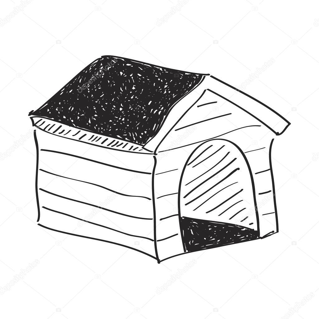 Bir Köpek Köpek Kulübesi Basit Doodle Stok Vektör Chrishall