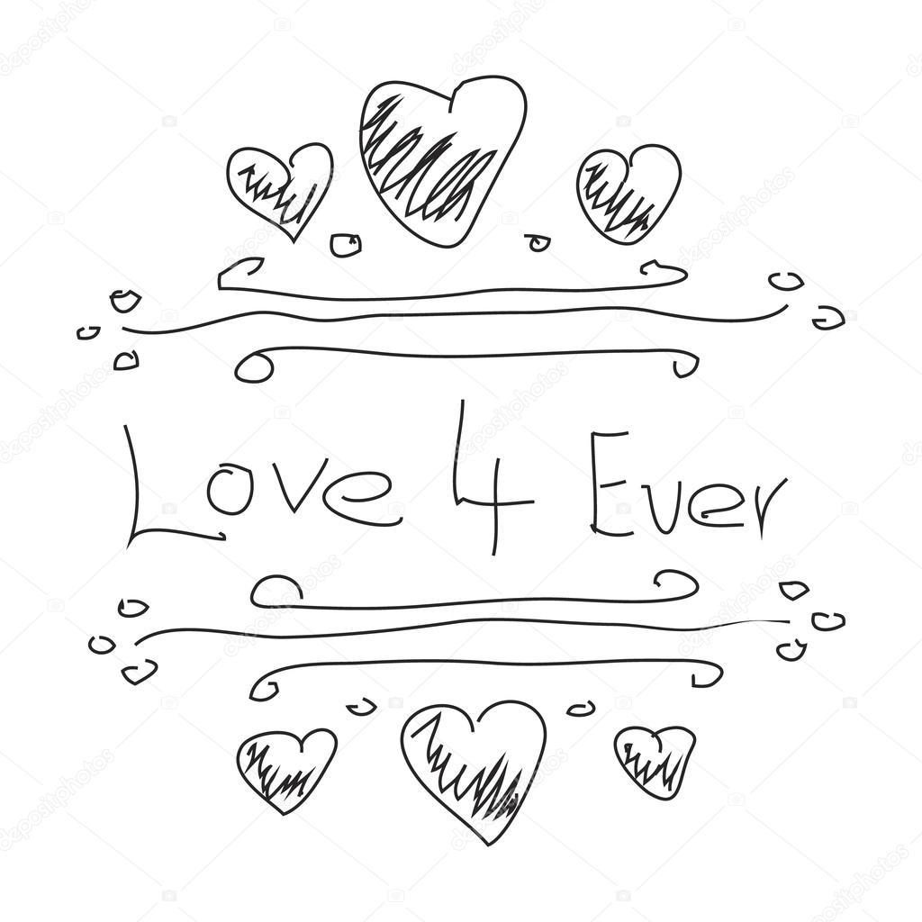 Doodle Simple D Un Dessin De Coeur Amour Image Vectorielle