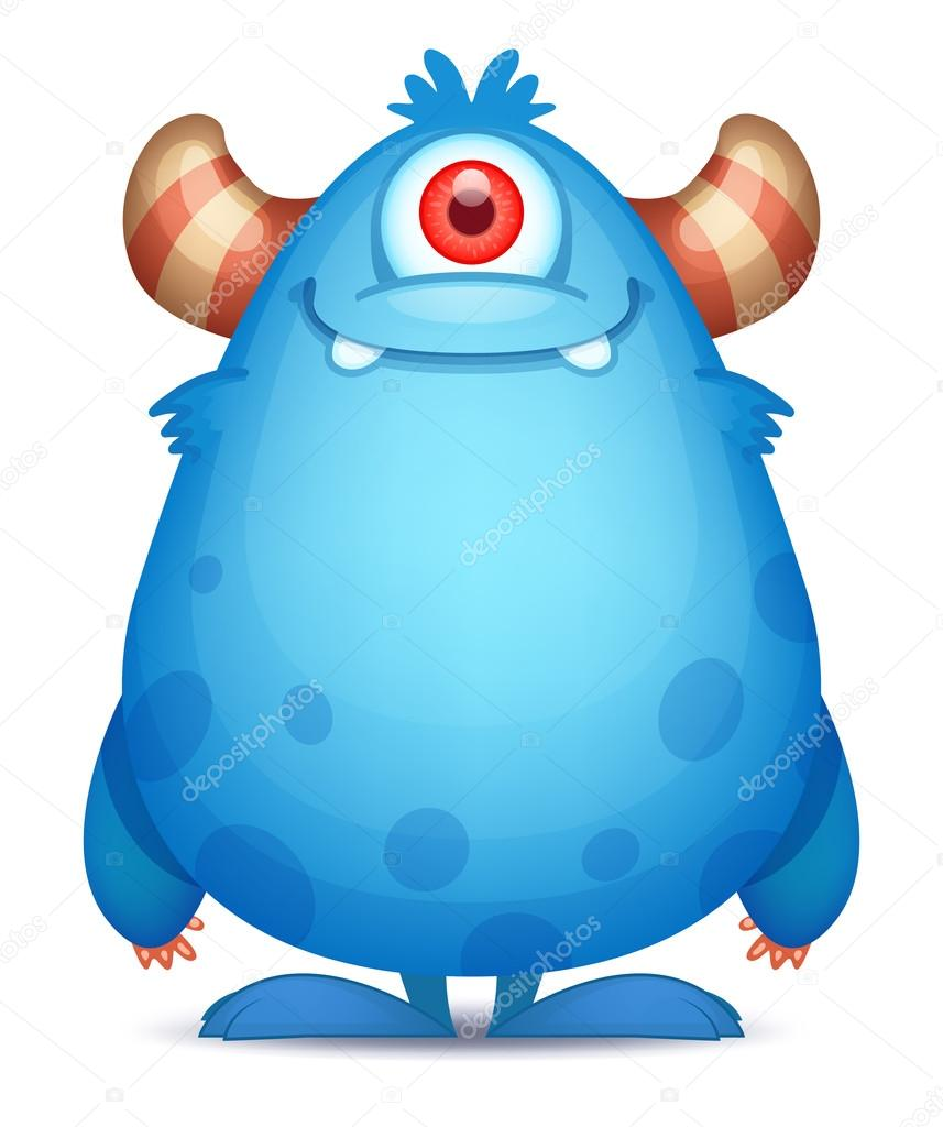 1 Eyed Cartoon Characters : Cartoon monster with one eye — stock vector real