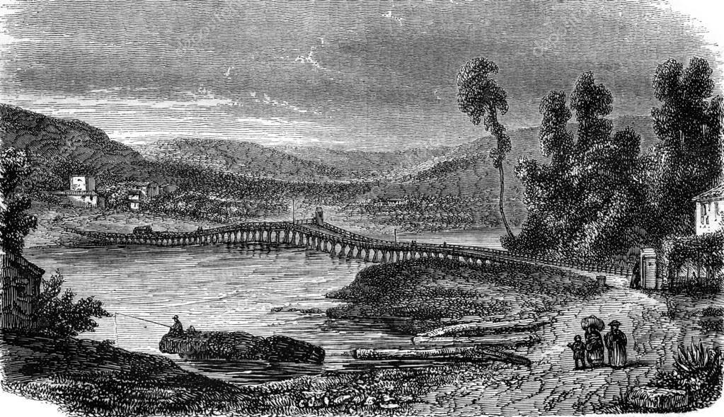 View from the Bridge Saint-Laurent, on the Var, vintage engravin