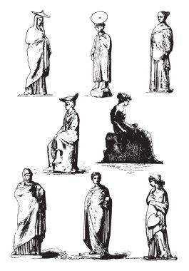Louvre Museum, Greek terracotta statues, vintage engraving.