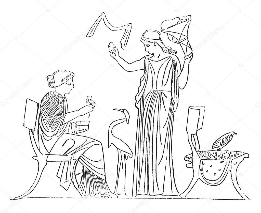 Vinç Ve özel Keklik H Yunan Bir Vazo Boyama Stok Vektör