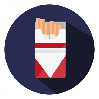 Red pack of cigarettes, illustration, vector on a white background. icon
