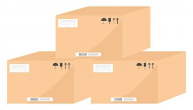 Brown boxes, illustration, vector on a white background. icon